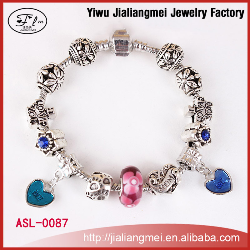 European Cute Heart Charms Pink Murano Glass Bead Bracelet With Silver Plated