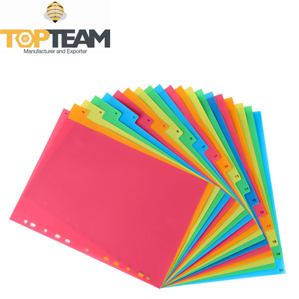 PP 11 Holes Index Divider, Organizing Plastic Index Page, Stationery PP Dividers