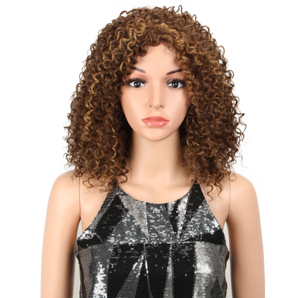 Magic Wigs Heat Resistant Hair Ombre Afro Wig Kinky Curly Wigs For Black Women Blonde Mixed Brown 14 Inch Synthetic Wigs F30s 27u Buy At The Price Of 17 00 In Alibaba Com