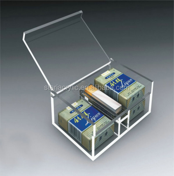 Clear Storage Box with Lid, Transparent Acrylic 2 Grids Cigarette Organizer Box