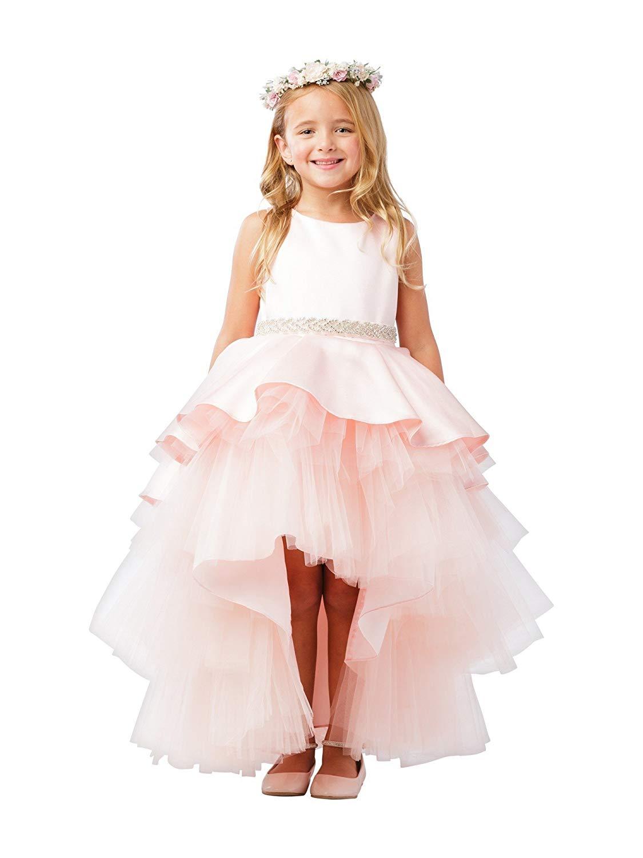 26953299e Get Quotations · Little Girls Blush Satin Overlay Rhinestone Hi-Low Flower  Girl Dress 2-6