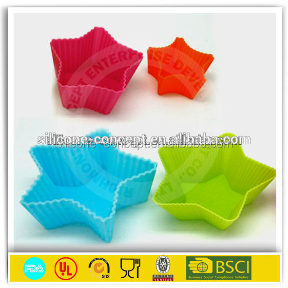 colorful star shape silicone cupcake mold