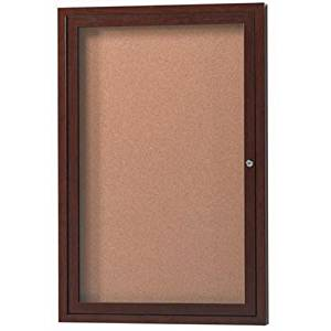 "Outdoor Enclosed Wall Mounted Bulletin Board Size: 24"" H x 18"" W x 2"" D, Finish: Walnut"