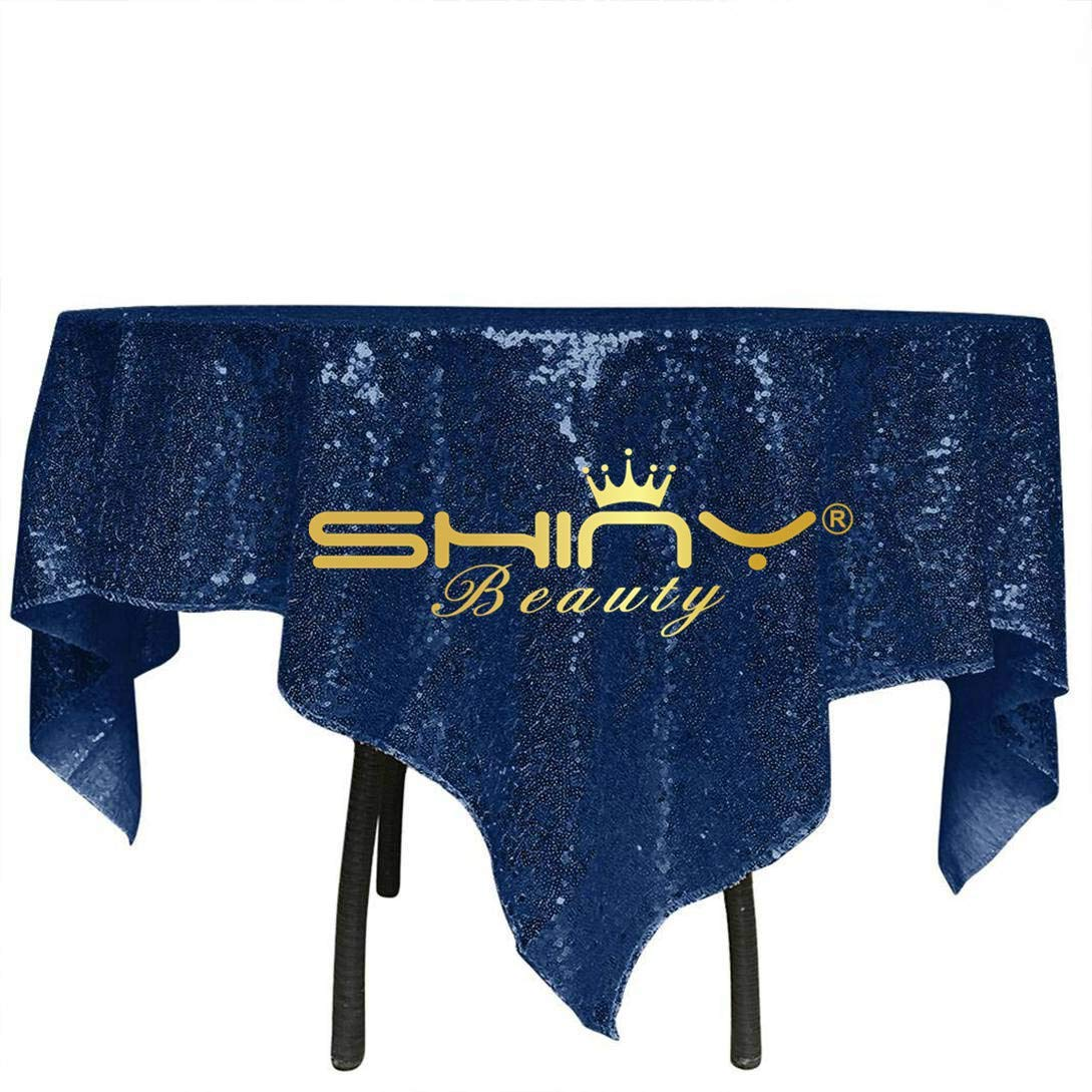 ShinyBeauty Navy Square Sequin Tablecloth 48x48-Inch, Birthday Party Cake Table Overlay Dessert Table Cover Linen