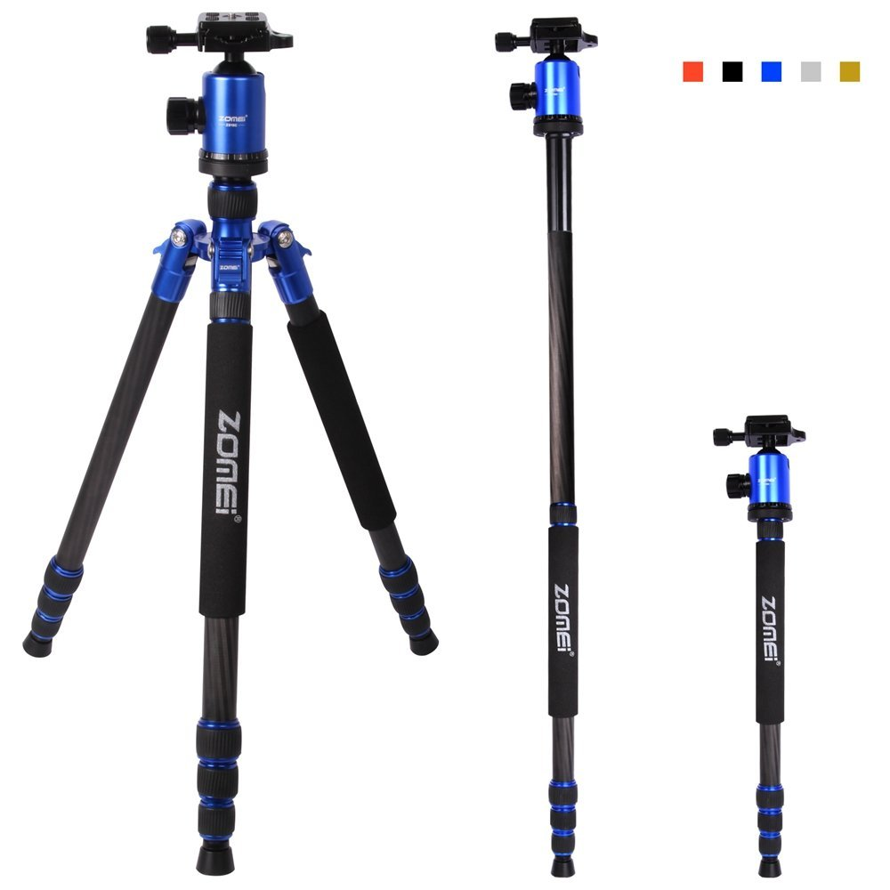 "Zomei Carbon Fiber Lightweight Camera Tripod Z818C 65-inch, Portable Monopod, 360 Degree Ball Head, 1/4"" Quick Release Plate - 40lbs(18kg) Load (Blue)"