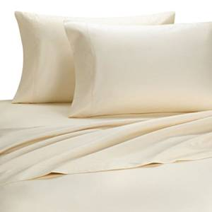 Deluxe' Solid Bed Sheet Set 100 Percent Egyptian Cotton Fine Single Yarns 1000 Thread Count Features Indulgently Soft Surface with a Lovely Sheen!! Set includes Fitted, Flat and Pair of Pillow Cases. Deep Pocket Fitted Sheet up to 18 Inches (Olympic Queen, Ivory)