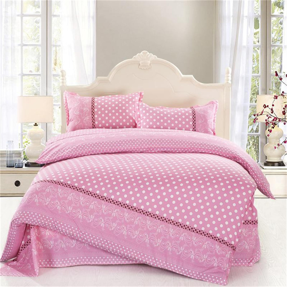 4pcs twin full size white polka dot comforter sets pink bedding girls comforter sets damask. Black Bedroom Furniture Sets. Home Design Ideas