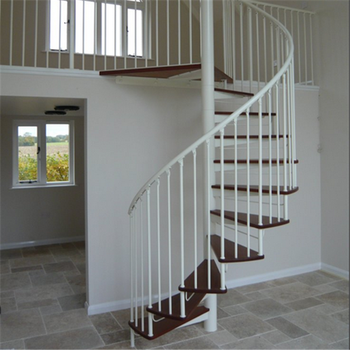 Modern Simple Design Stainless Steel Prefabricated Spiral Stairs With  Vertical Balustrade