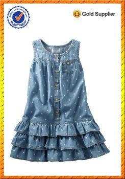 6dad156c1db Для маленьких девочек в горошек без рукавов на молнии жабо слой Подол  пользовательские джинсовые платья