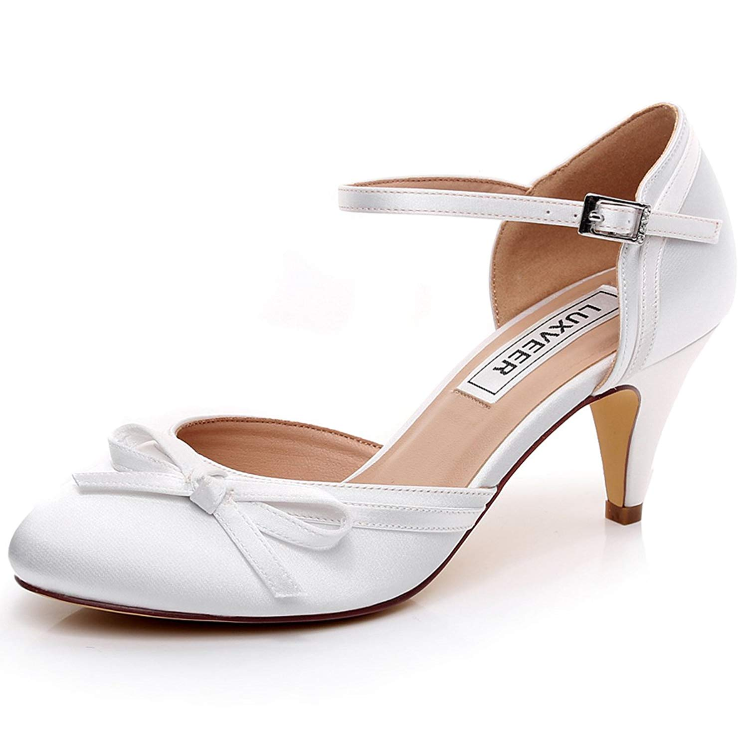 Get Quotations · LUXVEER Ivory Wedding Shoes Women Sandals with Bowknot Bridal  Shoes Women Shoes Low Heels 2 inch e24585db91bb