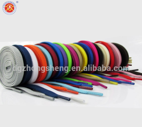 china factory custom logo shoelace flat colorful shoelace , polyester shoe lace with transparent tips