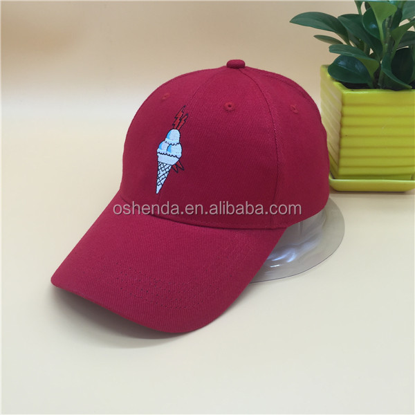 Red cotton ice cream embroidery custom dad hat wholesale