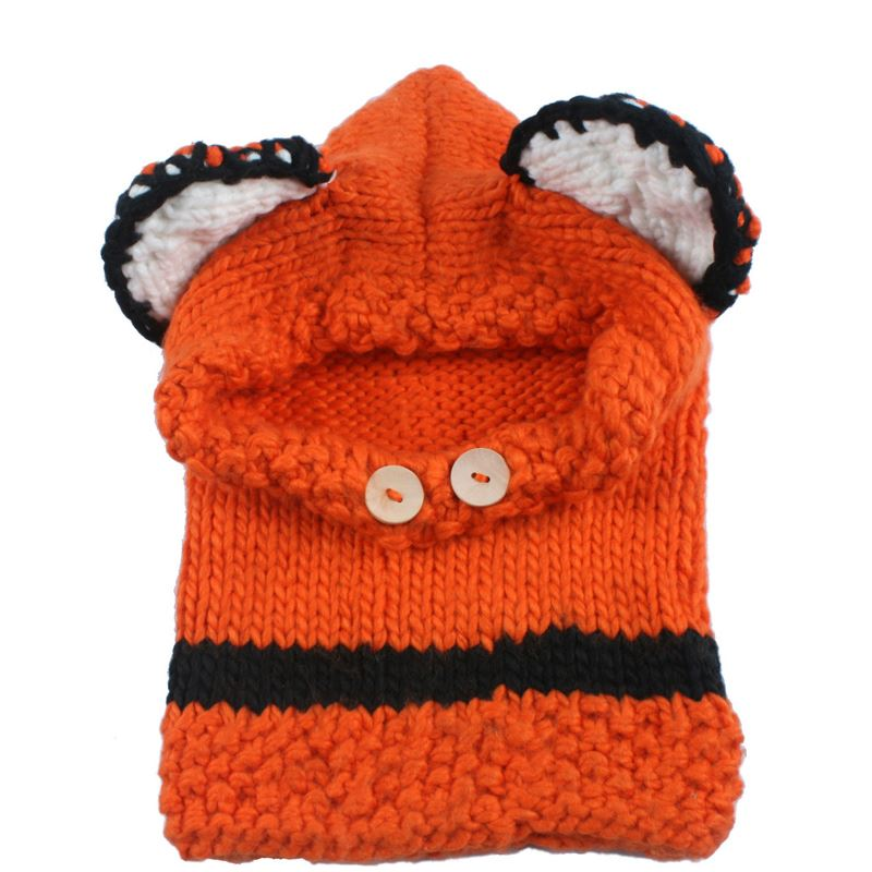 Winter Beanies Hats For Children Scarves Knit Hat Bonnet Caps Boy Winter Hats For Kids Girls Wool Warm Neck Shawls Fox Beanie