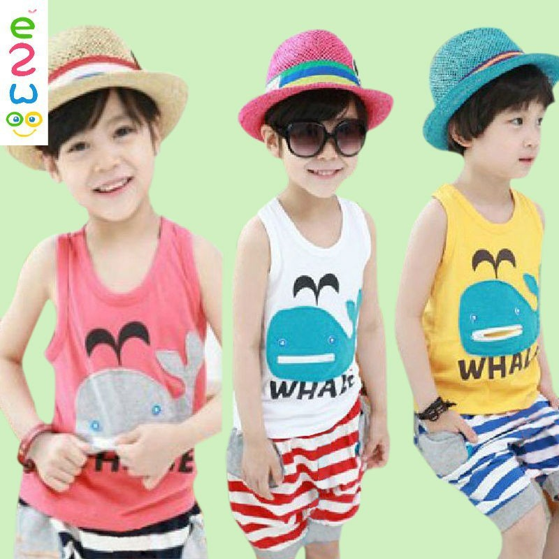Summer Wholesale Kids Cartoon Cute Vest Suit Children Kids Baba Suit