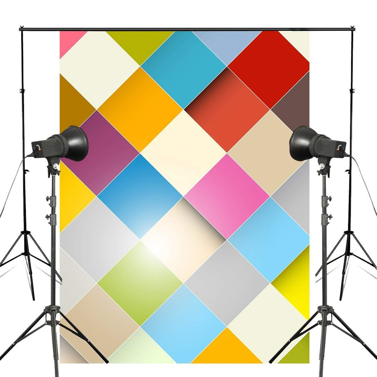 ERTIANANG 5x7ft Colorful Squares Photography Backdrops Kids Photo Studio Backdrop Children Photography Background Wall