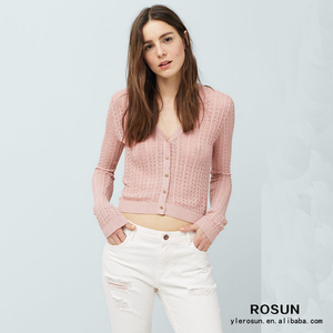 2016 womens button down pink cropped cardigan sweater on sale