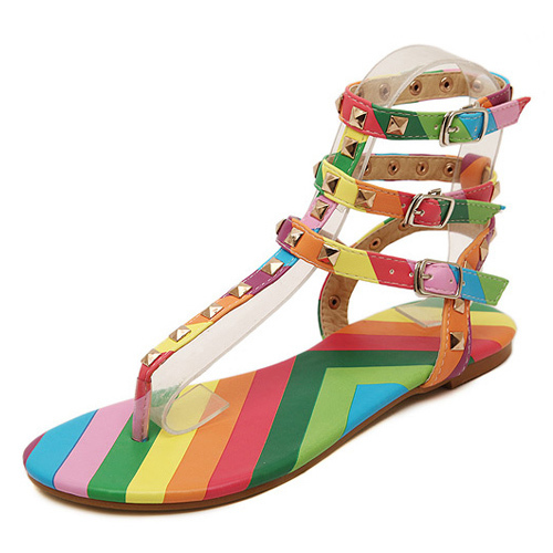 Ankle Strap Flats Sandals Women 2015 New Fashion Buckle Women Sandals Rainbow Color Rivets Shoes Woman Ankle Strap Flats Sandals