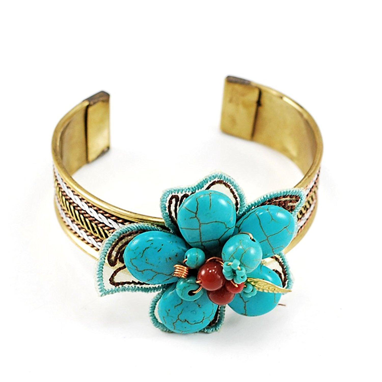 Magnesite Turquoise Flower Pendant Copper & Brass Cuff Bracelet N5041563