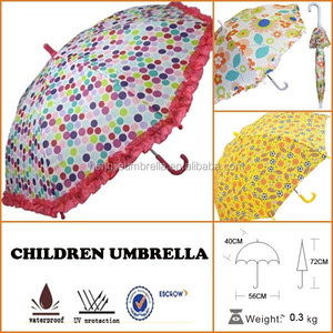 Girls Bright Polka Dot Ruffle Parasol Rain Umbrellas