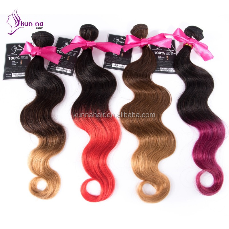 hot sale body wave products 100% human hair ombre extension top grade hair bundles