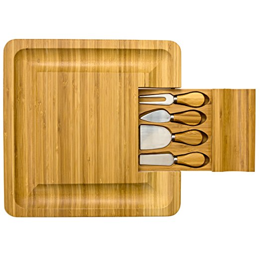 Natural Wooden Bamboo Cheese Board Cutlery Set With Slide-Out Drawer