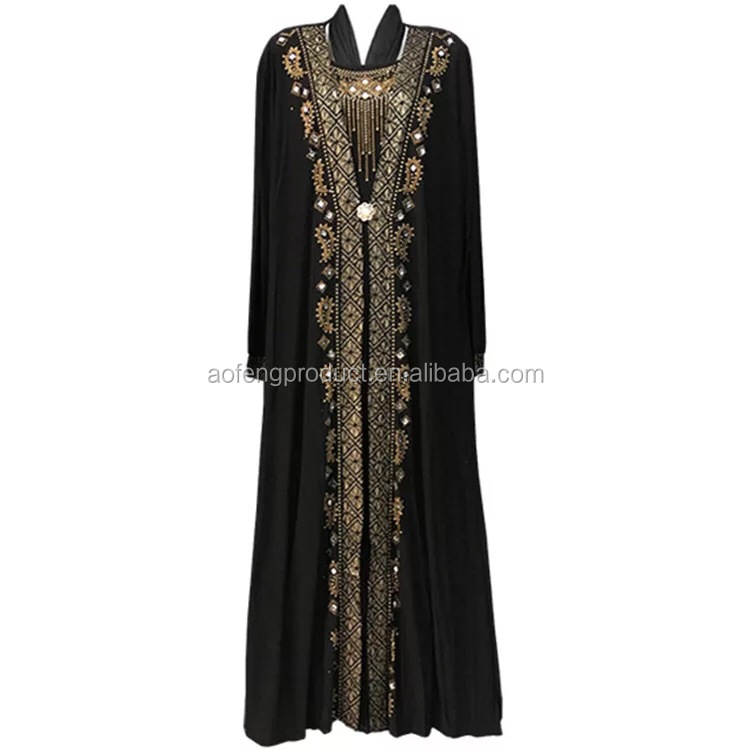 Islamic women wear new model abaya in dubai with diamond 2018 popular in stock muslim polyester kimono dubai abaya