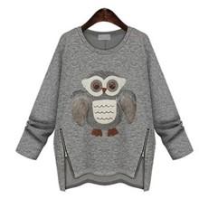 Winter New Moletom Feminino Fashion 2015 Women Hoodie Casual Printing Owls Plus Thick Velvet Long-Sleeved Sweatshirts Tracksuits