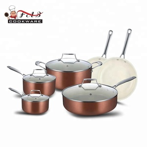 Kitchen equipment for cooking pot ceramic kitchen frying pan cookware with stainless steel handles
