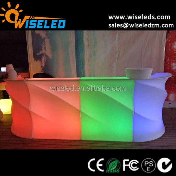 Wave Shape LED Bar Counter Portable Bar Counter color changing LED Bar Counter