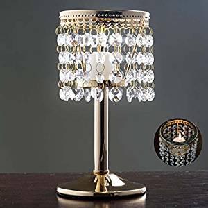 "Gold Elegant Metal Votive Tealight Crystal Candle Holder Wedding Centerpiece - 7.5"""