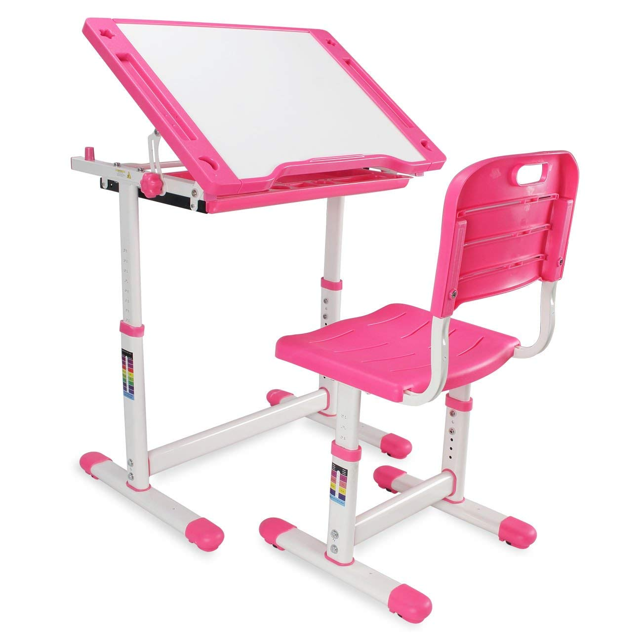 Kidzone Adjustable Children's Desk & Chair Set Kids Study Table Set Tiltable Desktop Height Work Station w/Pull Out Drawer, Pink