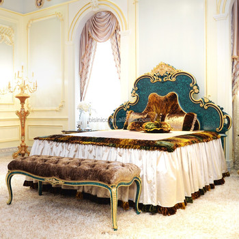 Latest Pea Green King S Bedroom Set Furniture Luxury Double Bed Design Antique With Wooden Hand Carving Size