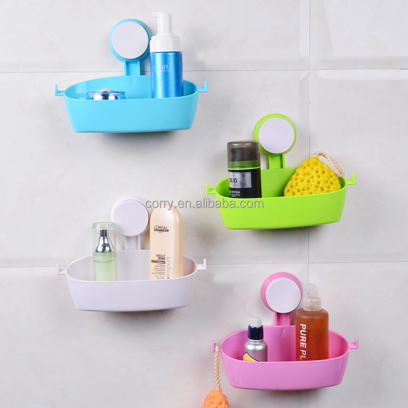 Vacuum suction cup bathroom and kitchen plastic shelf/holder