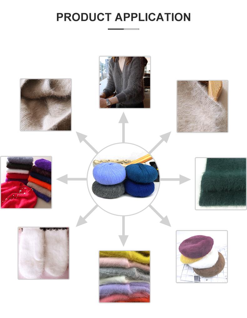 Amazon vente chaude doux fil fantaisie longue fourrure de lapin pour le tricot