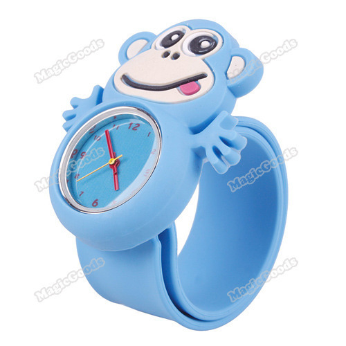 [High Quality][Brand New] Hot Children Boys Girls Cute Animal Monkey Slap Snap Rubber Bracelet Wrist Watch[Orange] [Hot]