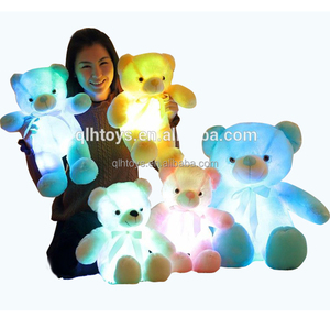 50cm Creative Light Up LED Bear .Stuffed Animals Plush Toy Colorful Glowing Bear Christmas Gift for Valentine's Day