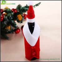 In stock christmas traditional decoration wine bottle holiday covers christmas decoration santa hat wine holder