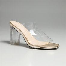 Meotina/Женская обувь летние прозрачные вечерние туфли на не сужающемся книзу высоком массивном каблуке модные шлепанцы с открытым носком жен...(Китай)
