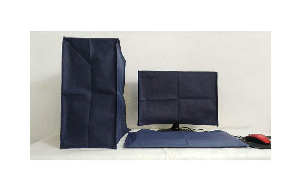 Bodu 3 Pieces Suit Computer Dust Cover, Monitor + Keyboard + CPU 24'' Monitor Set (57W x 36H x 7D) (Navy Blue)