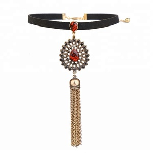 Most popular black rope red rhinestone drop shaped hollow tassel choker necklace for Women