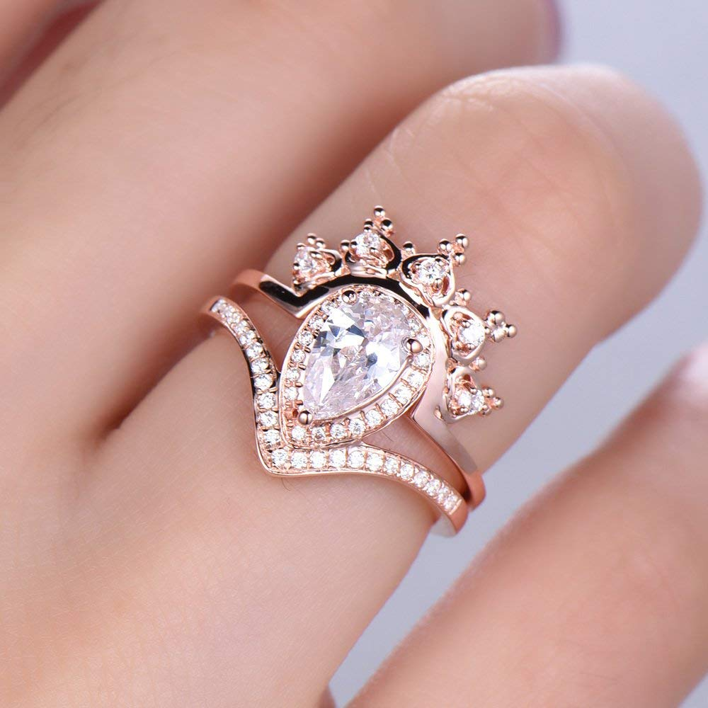 ed4f8d25254 Get Quotations · Crown Ring Set CZ Princess Crown Ring Queen Ring 5x8mm  Pear Cut Engagement Ring Curve Wedding
