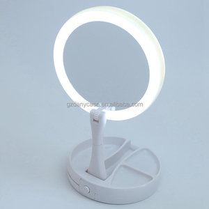Rechargeable 2 in 1 Round Shape Spot Mirror LED Lighted Cosmetic Vanity LED Lights White+ Lamp Mirror