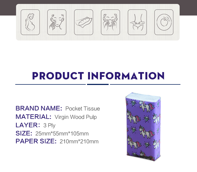 wholesale bulk pocket tissue packs/pocket tissue handkerchief