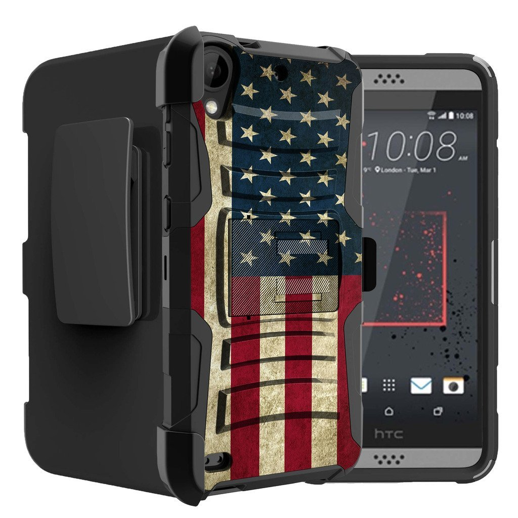 Untouchble Case for HTC Desire 530| HTC Desire 630 Flag Case [Heavy Duty Clip]- Shockproof Swivel Holster Case with Built in Kickstand - Vintage America Flag