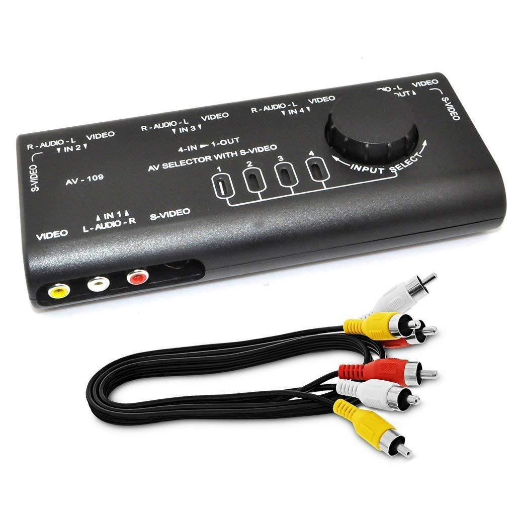 Get Quotations · Ablewe RCA Splitter with 4-Way Audio,AV Audio Video Signal  Switcher,Video