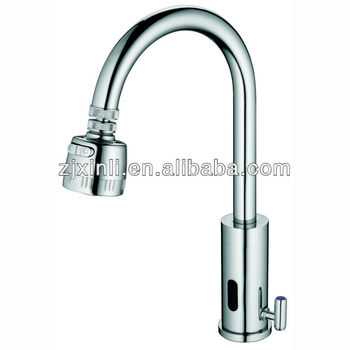 Luxury Brass Automatic Kitchen Faucet, Hot U0026 Cold Water Mixer, Chrome  Finishing And Deck