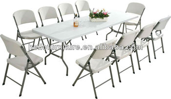 8 feet plastic folding table and chairs