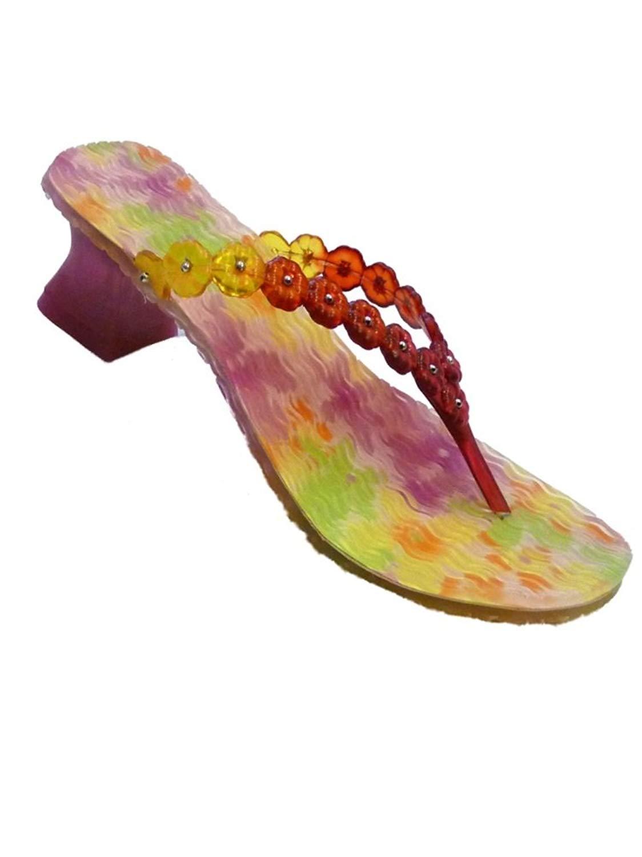 4685b86a009ef Get Quotations · No Boundaries Girls Pink Flower Plastic Gel Sandals Heels  Thongs