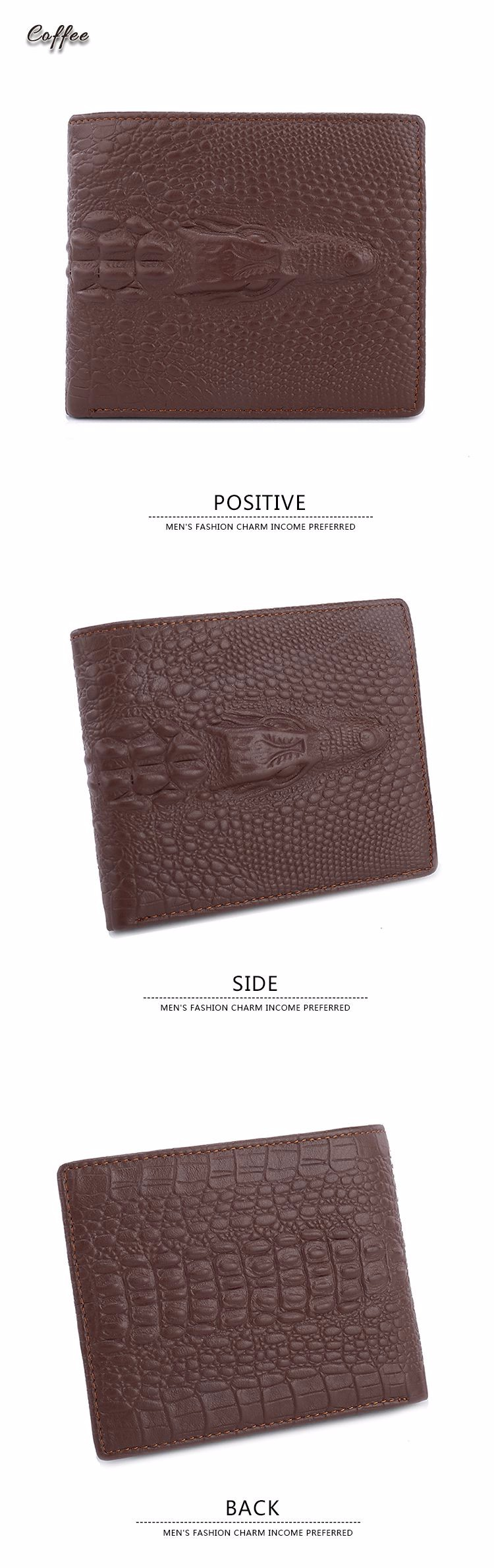 Fashion Brown Leather Business Card Holder Coin Purse Men Pocket ...