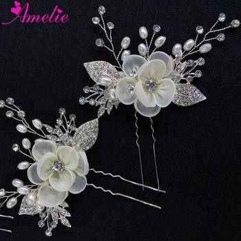 Flower Hair Pin Rhinestone Pearl Bridal Hair Comb Pins Handmade Flower Bridesmaid Headpiece Wedding Headdress Accessories Buy Wedding Hair